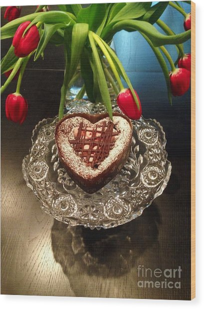 Red Tulip And Chocolate Heart Dessert Wood Print