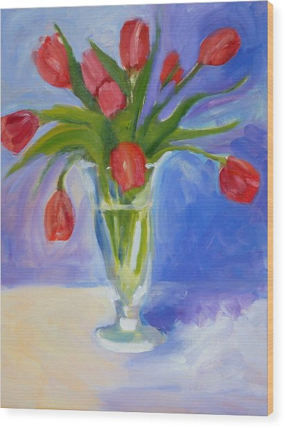 Red Tulips Wood Print by Valerie Lynch