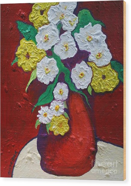 Red Vas With Yellow And White Flowers Wood Print
