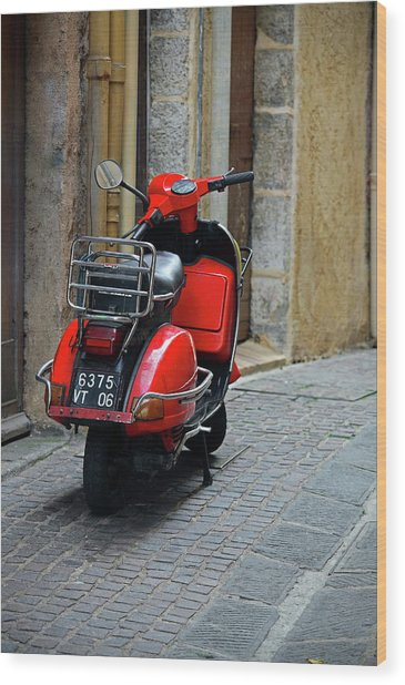Red Vespa Scooter Parked In Sidestreet Wood Print