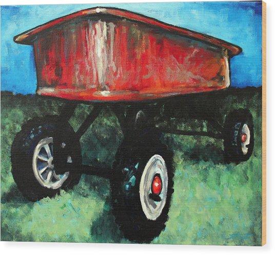 Red Wagon Wood Print