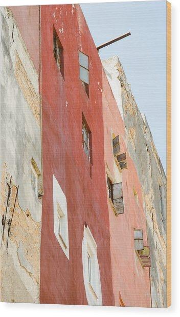 Red Wall In Havana Cuba Wood Print
