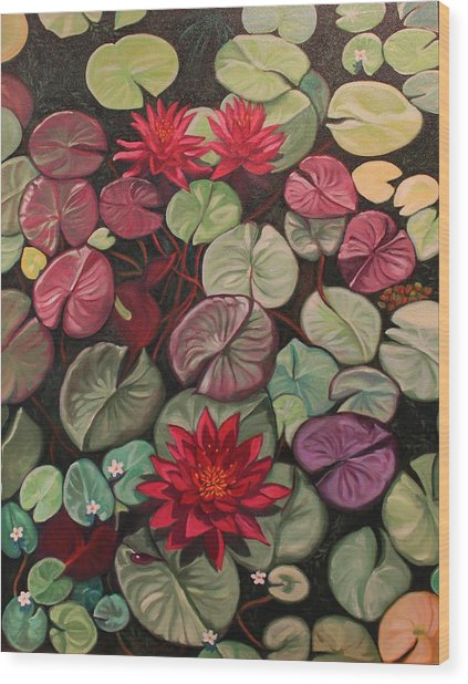 Red Water Lilies Wood Print