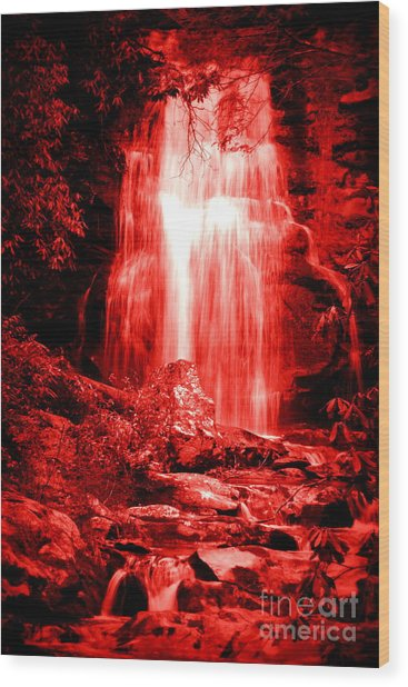 Red Waterfall Wood Print