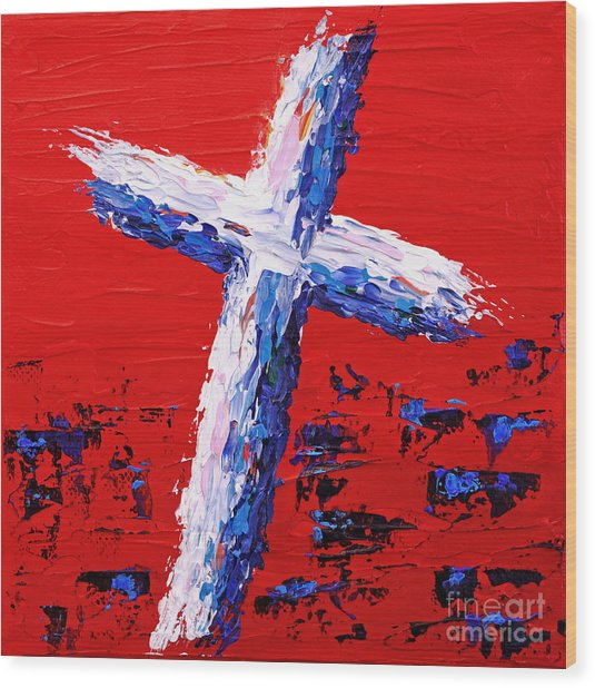 Red White And Blue Cross Wood Print by Pattie Calfy