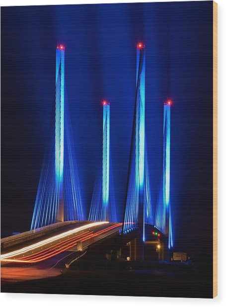 Indian River Inlet Bridge As Seen North Of Bethany Beach In This Award Winning Perspective Photo Wood Print