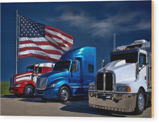Red White And Blue Semi Trucks Wood Print by Tim McCullough