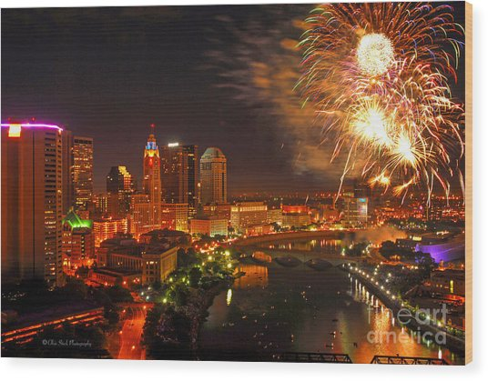 Red White And Boom Photo Wood Print