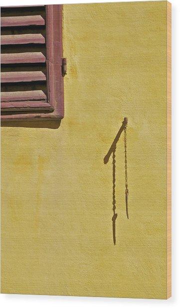Red Window Shutter Of Tuscany Wood Print