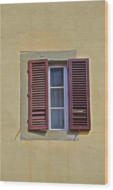 Red Window Shutters Of Florence Wood Print