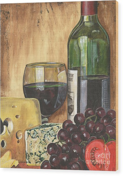 Red Wine And Cheese Wood Print