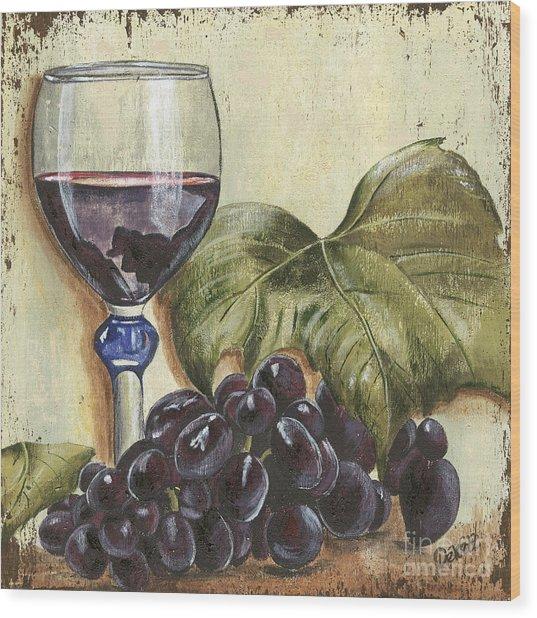 Red Wine And Grape Leaf Wood Print