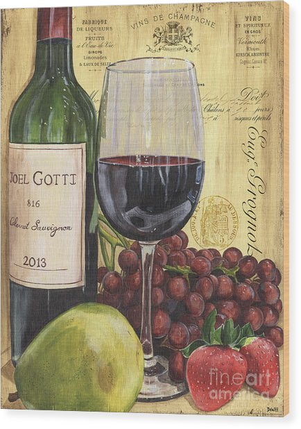 Red Wine And Pear Wood Print