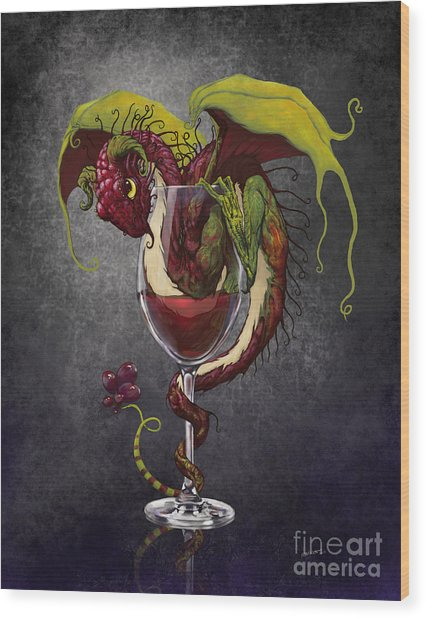 Red Wine Dragon Wood Print