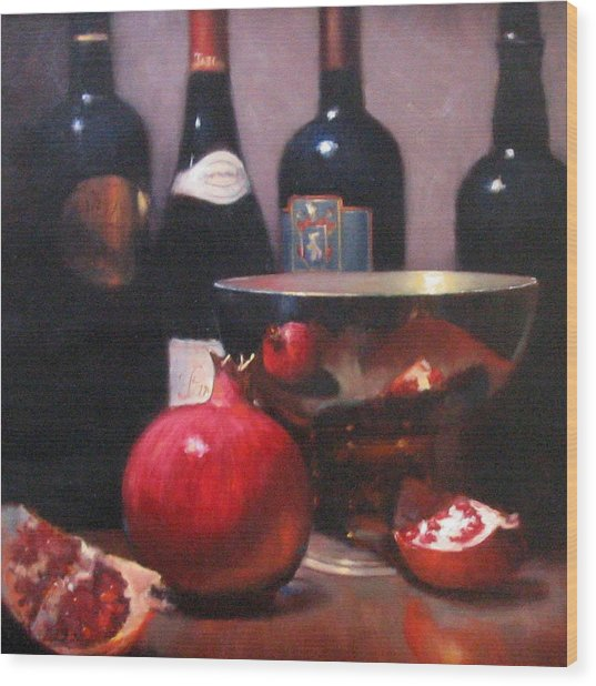 Red Wine With Pomegranates Wood Print by Takayuki Harada