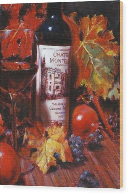 Red Wine With Red Pomergranates Wood Print by Takayuki Harada