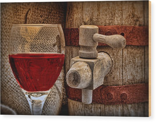 Red Wine With Tapped Keg Wood Print