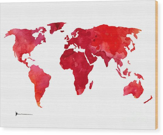Red world map silhouette art print watercolor painting painting by red world map silhouette art print watercolor painting wood print by joanna szmerdt gumiabroncs Gallery