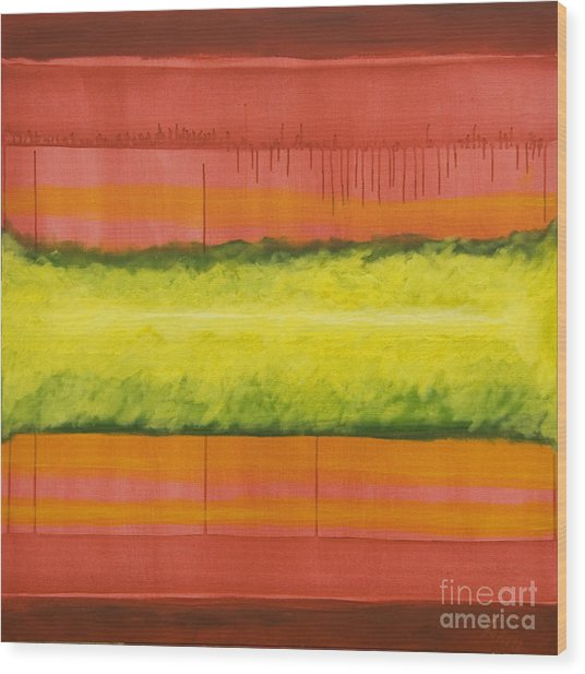 Red Yellow And Green Wood Print