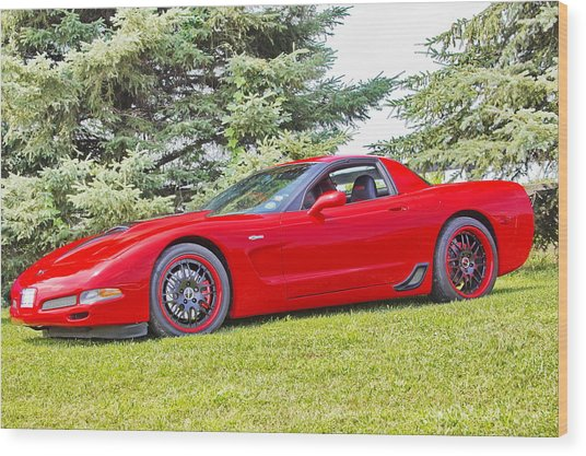 Red Z06 C5 Corvette Wood Print