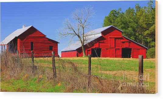 Red Barns Of The Past Alabama Wood Print