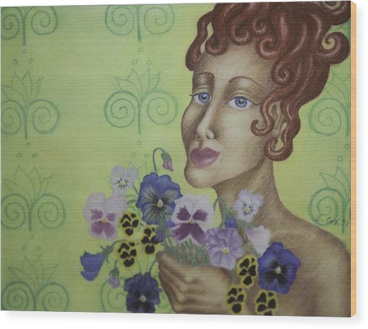 Redhead Holding Pansies Wood Print by Claudia Cox