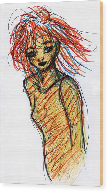 Redhead I Wood Print