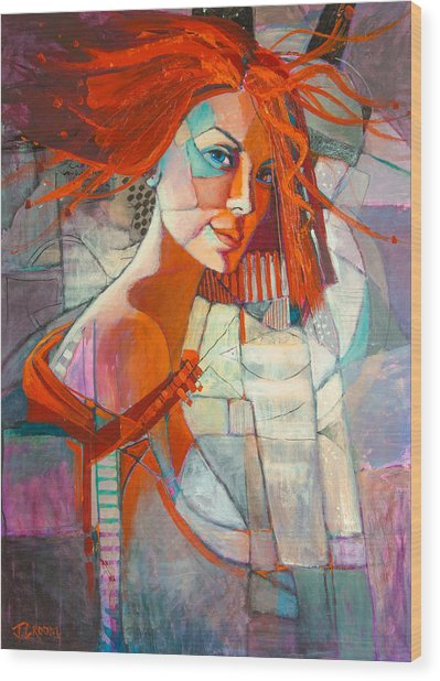 Redhead Wood Print by Jennifer Croom