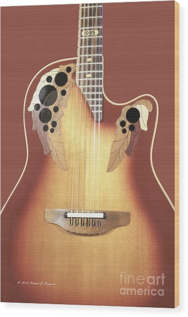 Redish-brown Guitar On Redish-brown Background Wood Print