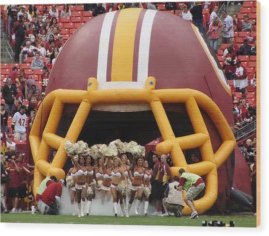 Redskins Cheerleaders Wood Print