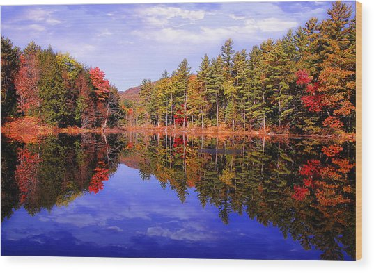 Reflected Autumn Lake Wood Print by William Carroll