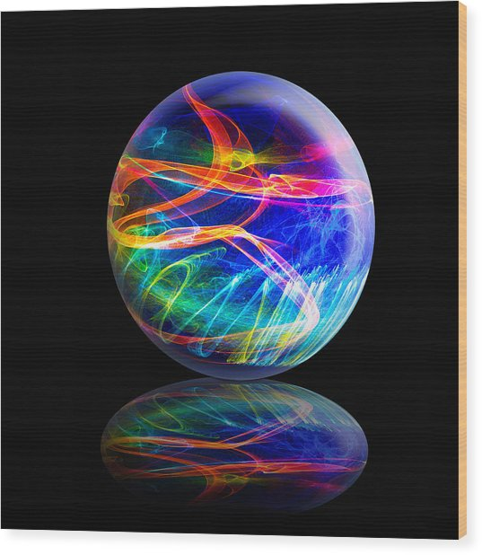 Reflected Flame Globe Wood Print