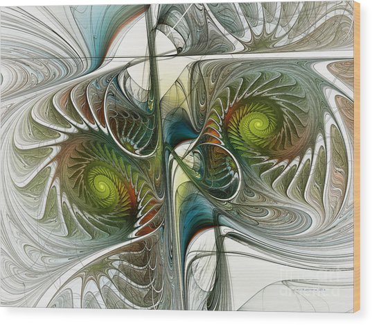 Reflected Spirals Fractal Art Wood Print