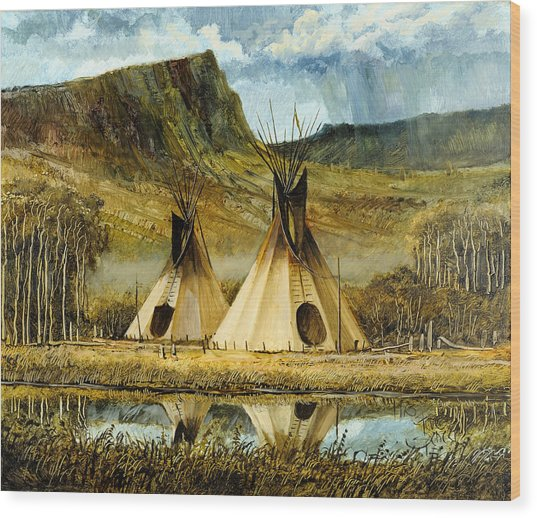 Reflected Tipis Wood Print