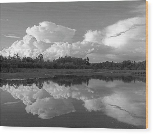 Reflecting Clouds Wood Print