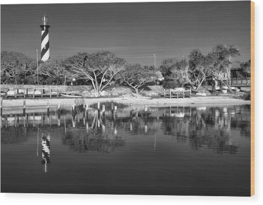 Reflecting Lighthouse  Wood Print