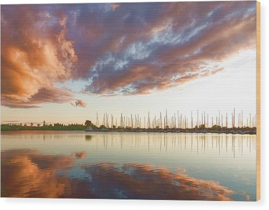 Reflecting On Clouds And Yachts - Lake Ontario Impressions Wood Print