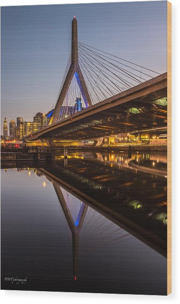 Reflecting On Zakim Wood Print