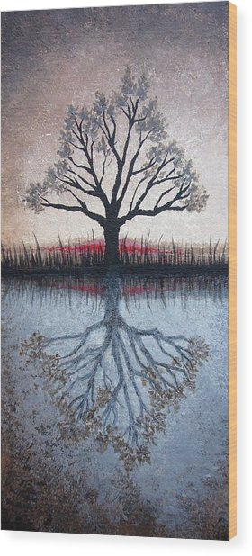 Reflecting Tree Wood Print