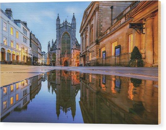 Reflection, Bath Abbey, Roman Baths Wood Print by Joe Daniel Price