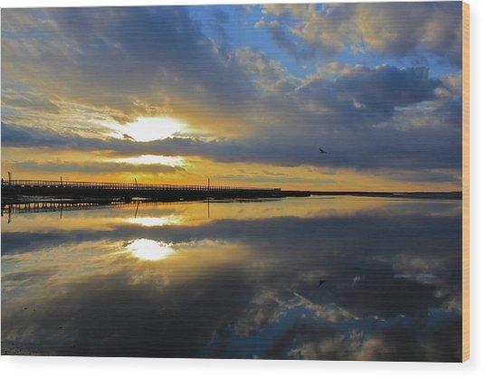 Reflection Grays Beach Boardwalk Wood Print