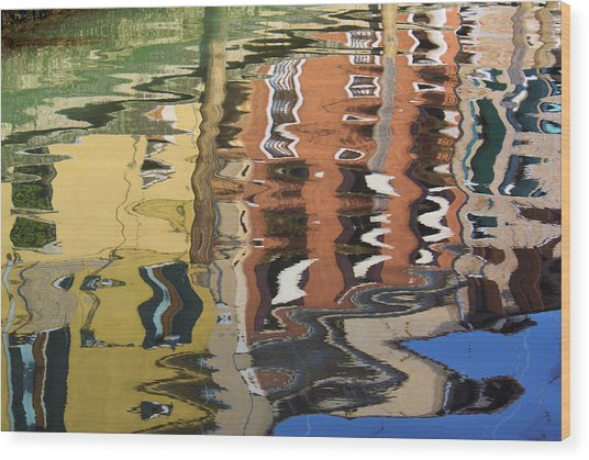 Reflection In A Venician Canal Wood Print
