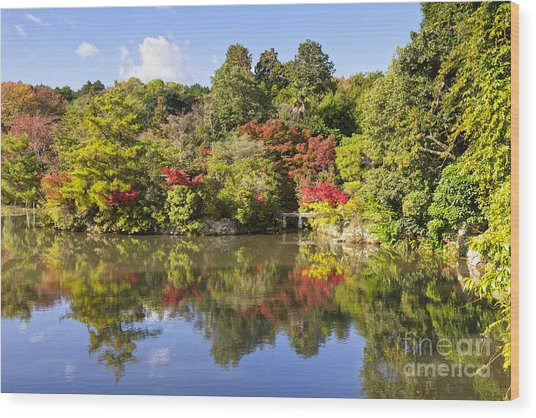 Reflection In Kyoyochi Pond In Autumn Ryoan-ji Kyoto Wood Print by Colin and Linda McKie