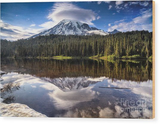 Reflection Lakes Sunset Wood Print