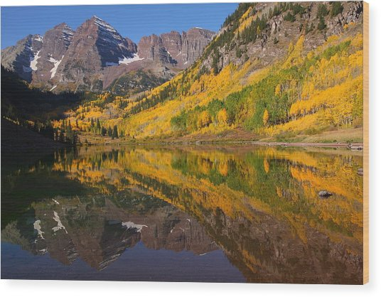 Reflection Of Maroon Bells During Autumn Wood Print