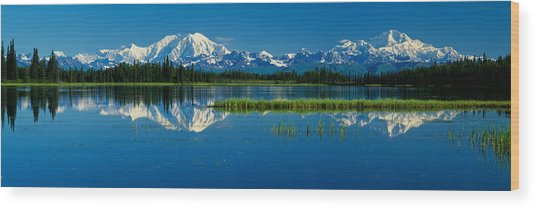Reflection Of Mountains In Lake, Mt Wood Print
