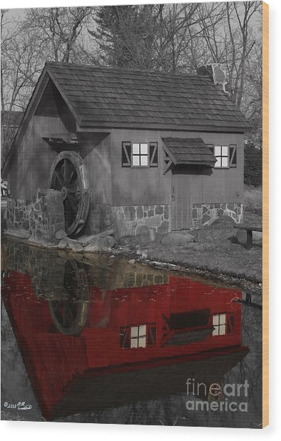 Reflection Of Red Mill Wood Print