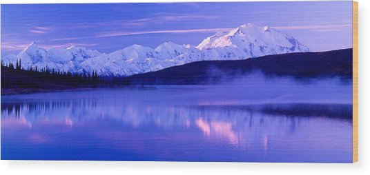 Reflection Of Snow Covered Mountains Wood Print