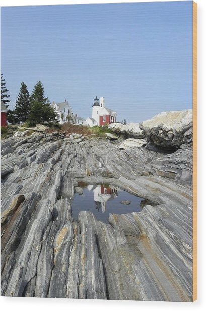 Reflection Of The Lighthouse Wood Print