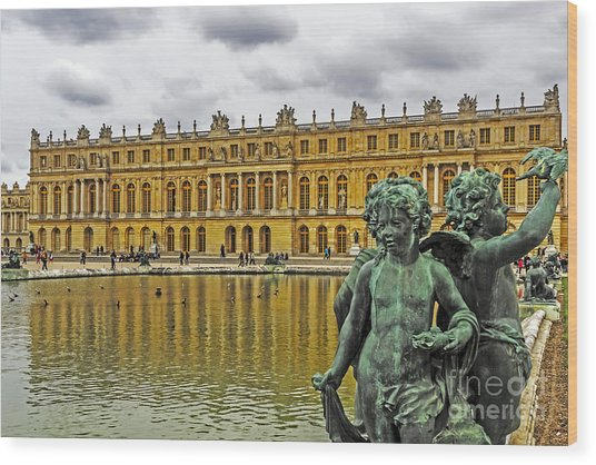 Reflection Pool Of Versailles Wood Print